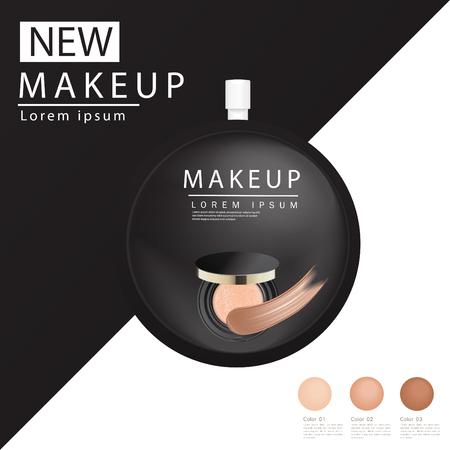 Cushion Compact fondations publicitaires, produit essentiel de maquillage attrayant avec texture isolée sur fond de paillettes, illustration 3d