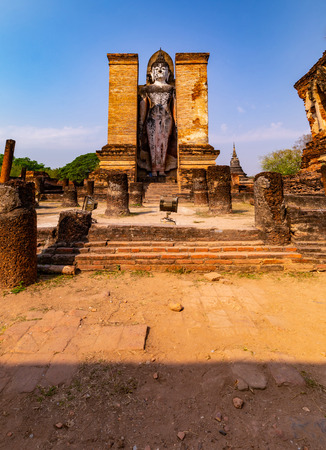 Sukhothai historical park and surrounding area in the midday and twilight Фото со стока