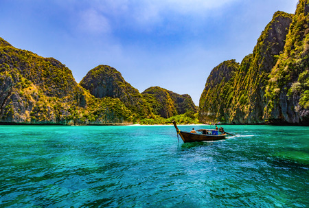 Maya Bay is one of the most famous beaches on Phi Phi Lay. But today there is no tourists on the beach because it needs to be temporarily closed Reklamní fotografie - 121043974