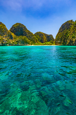 Maya Bay is one of the most famous beaches on Phi Phi Lay. But today there is no tourists on the beach because it needs to be temporarily closed