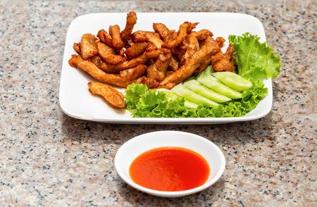 Easy dish with fried pork Reklamní fotografie