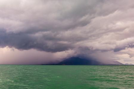 Heavy raining cover the mountain