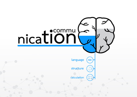 brain left concept. communication abstract infographic 일러스트