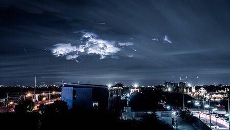 Lightning strike in the city Stock Photo