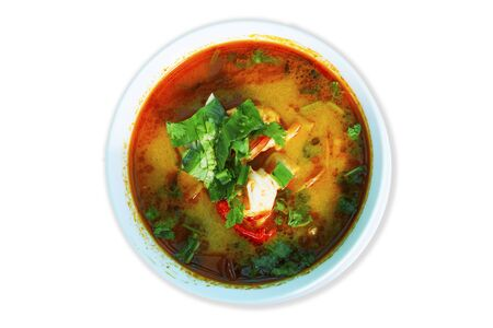 Tom Yum Goong on a white background. Thai local food Stock Photo