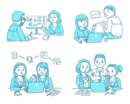 Coworkers team discussion about work plan, business team talking together, cartoon style set