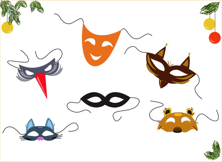 roles: Holiday masks for different roles Illustration