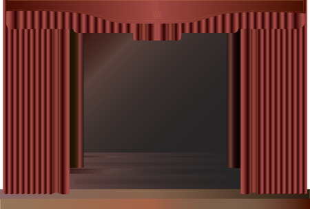 red stage curtain: Red  stage curtain in cerimonial hall.