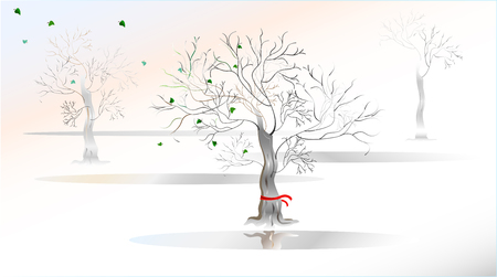 equinox: Spring is coming. Illustration