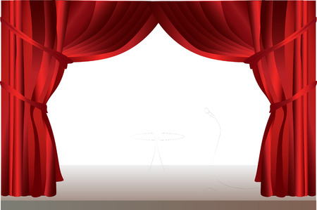 Red stage curtains with glass table.