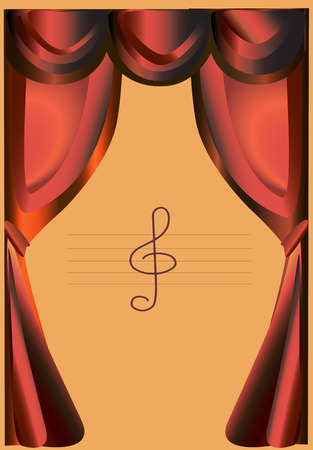Red stage curtains with honey background and the treble clef.