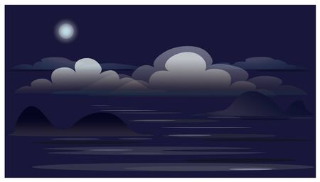 Landscape with clouds, ocean and Moon. Illustration