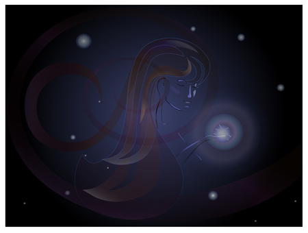 Stars Woman in sky Ilustrace
