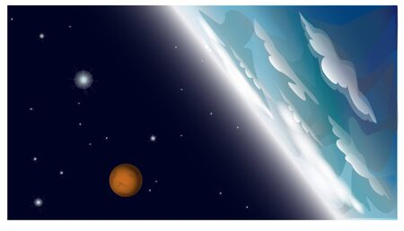 Blue planet with clouds and orange planet in Space. Illustration