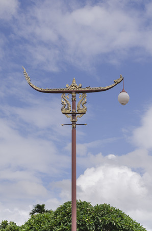 lamp post: Traditional Thai style post lamp, Nan Thailand.