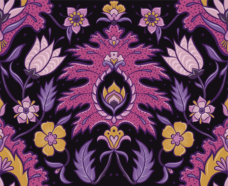 Bohemian Seamless Motif - Pink, purple and mustard