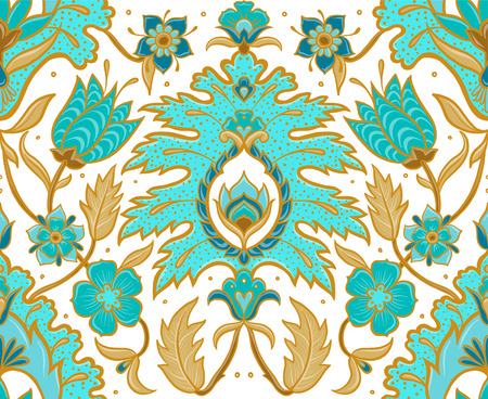 Bohemian Seamless Motif - Turquoise and Mustard