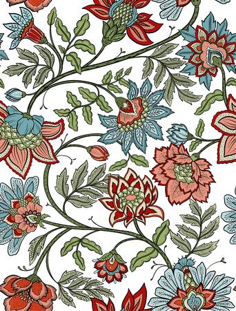 Paisley floreale senza cuciture bohemien - rosso e blu