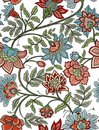 Floral paisley sans couture bohème - rouge et bleu Banque d'images