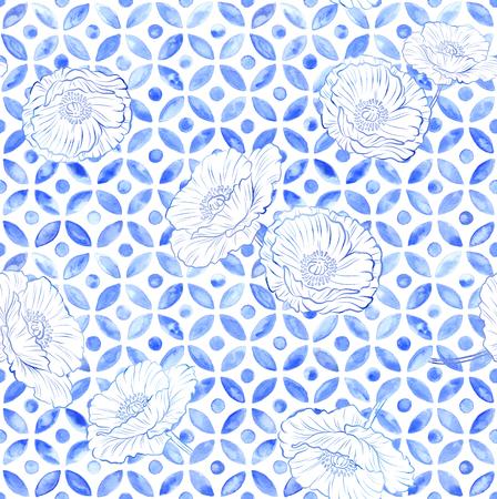 Moroccan poppy watercolor tile - navy indigo Stock Photo