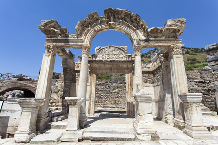 colum: Temple of Hadrian in ancient city of Ephesus in Turkey. Stock Photo