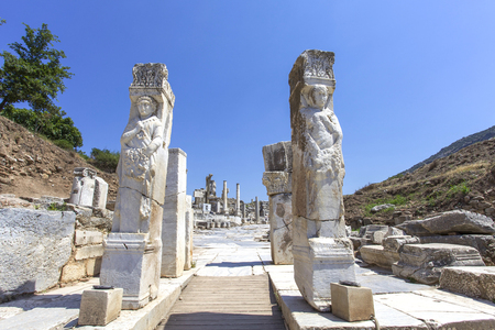 colum: Hercules gate in the ancient city of Ephesus in Turkey. Stock Photo