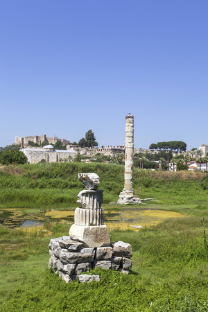 colum: Ruins of Temple of Artemis at Ephesus, the ancient town located in Turkey. Stock Photo