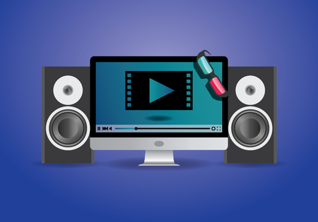 watching 3d: watching 3d Online Movie using 3d glass on pc or television monitor vector