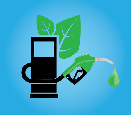 biofuel: biofuel concept with gasoline pump and green concept leaf vector Illustration