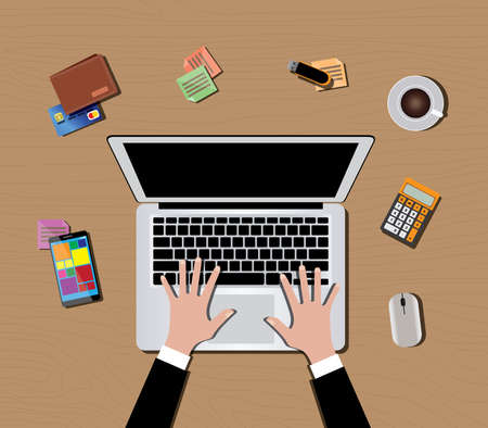 workspace with computer monitor keyboard mouse coffee wallet calculator hand and smartphone vector illustration
