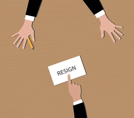 resign: resignation give resign letter to bos vector illustration Illustration