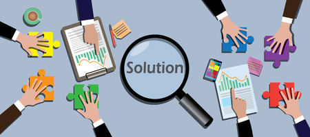 find a solution: team work together to find a solution vector illustration Illustration