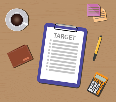 set the intention: target list illustration with check list and clipboard document illustration Illustration