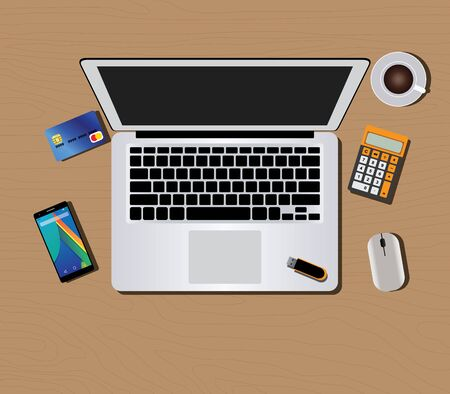 flashdisk: workspace with computer monitor keyboard mouse coffee wallet calculator hand and smartphone vector illustration