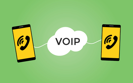 mobile voip: voip voice over protocol concept with two smartphones vector illustration