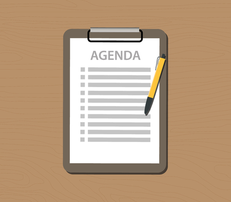 agenda: agenda list with document and clipboard vector illustration