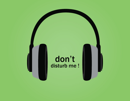 do: dont disturb symbol illustration poster with headphone and tagline vector Illustration