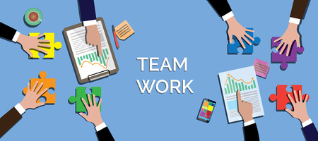 work together: team work concept work together use puzzle or jigsaw vector illustration