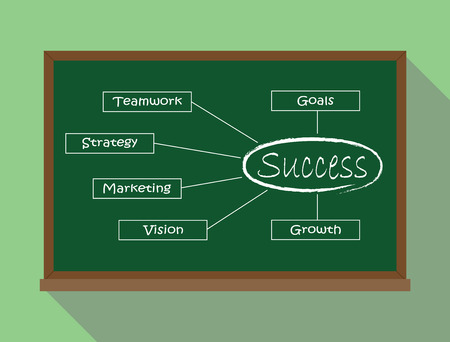 success key: success key illustration in green board teamwork strategy marketing vision growth vector illustrations Illustration