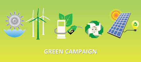alternatives: green campaign concept with new energy alternatives solar panel vector illustration Illustration