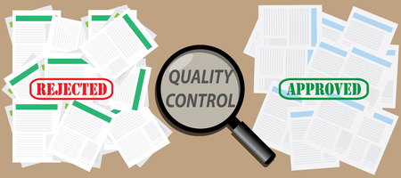 quality control: quality control check document with approved document and rejected document vector