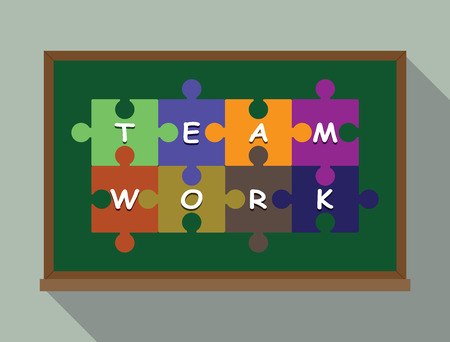 green board: team work concept puzzle vector illustration in green board