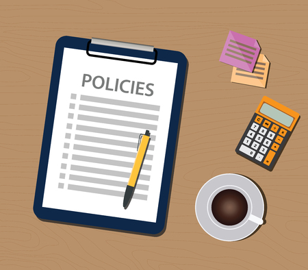 policy document: policies policy concept with clipboard document and checklist vector illustration Illustration