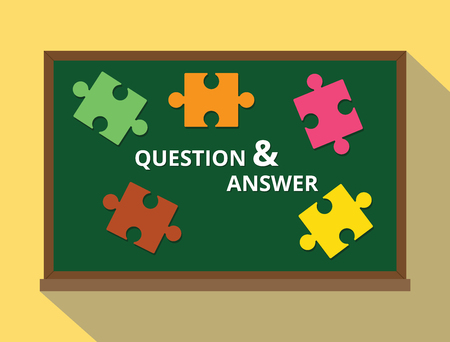 green board: question and answer in green board puzzle concept vector illustration
