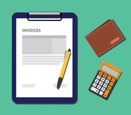 invoices: invoices document with clipboard calculator and wallet and ballpoint vector illustration