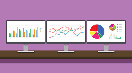 workdesk monitoring graph triple monitor with graph and chart concept vector illustration Vectores