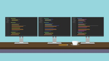 programming code: programmer workdesk triple monitor with programming code vector illustration