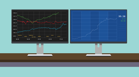 stockmarket chart: online trading stock graph in dual montior computer vector illustration
