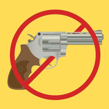 gun control: no gun ban control pistols with ban-sign vector illustration