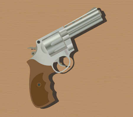semi automatic: gun pistols isolated revolver wood background vector illustration